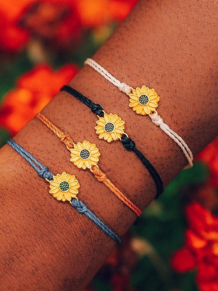 Beach Daisy Alloy Bracelets/Anklets(4 pieces)