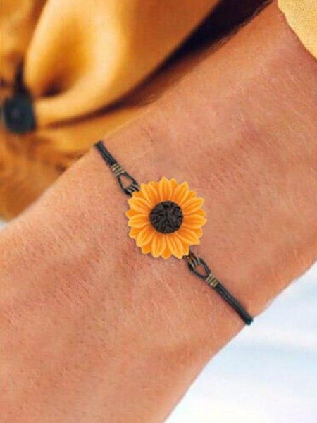 Literature Art Retro Sunflower Leather Strap Bracelets