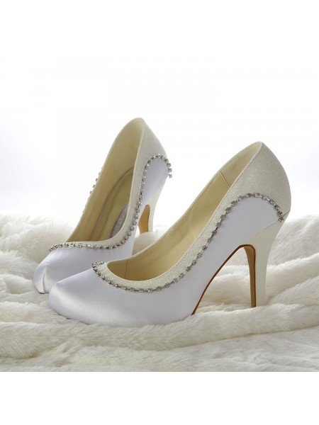Women's Stiletto Heels Closed-toe Beading White Wedding Shoes