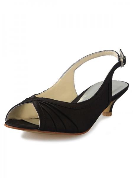 Women's Kitten Heel Satin Peep Toe Slingbacks With Buckle Sandals Shoes