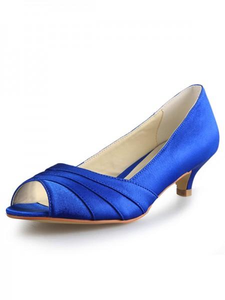 Women's Low Heel Peep Toe Satin High Heels