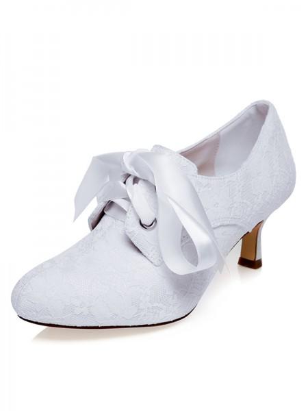 Women's Satin Closed Toe Silk Spool Heel Wedding Shoes