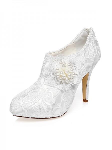 Women's Satin Closed Toe Stiletto Heel Flower Wedding Shoes