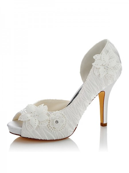 Women's Satin PU Peep Toe Stiletto Heel Wedding Shoes