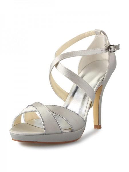 Women's Satin Stiletto Heel Platform Peep Toe With Buckle Dance Shoes