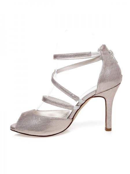 Women's PU Peep Toe Zipper Stiletto Heel Wedding Shoes
