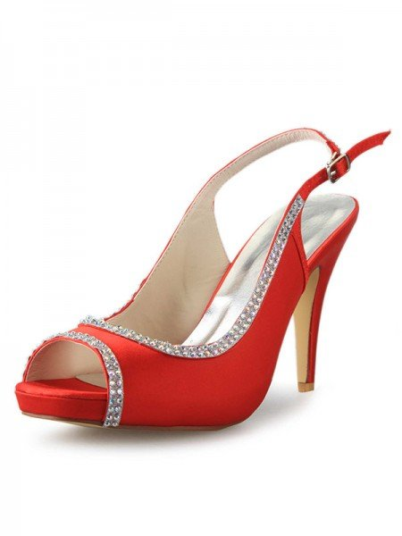 Women's Satin Platform Cone Heel Peep Toe With Rhinestone Red Wedding Shoes