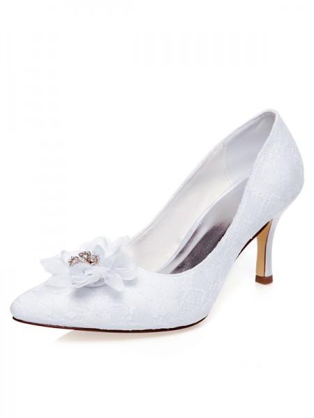 Women's Satin Closed Toe Flower Spool Heel Wedding Shoes