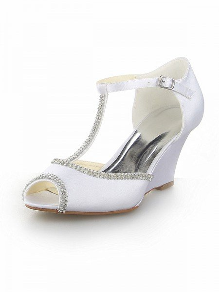 Women's Peep Toe T-Strap With Rhinestone Satin Wedge Heel White Wedding Shoes