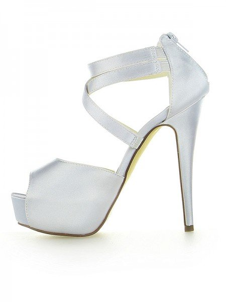 Women's Satin Platform Peep Toe With Zipper Stiletto Heel White Wedding Shoes