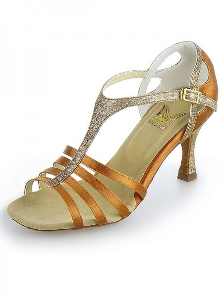 Women's Peep Toe Buckle Stiletto Heel Satin Dance Shoes