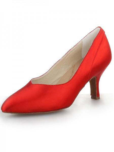 Women's Red Closed Toe Cone Heel Satin High Heels