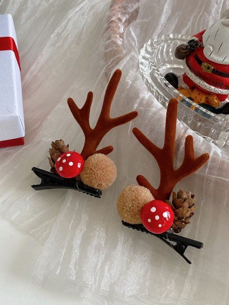 Christmas Pretty Cloth With Antler Hairpins(2 Pieces)