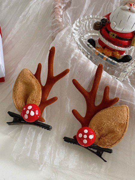 Christmas Fancy Cloth With Antler Hairpins(2 Pieces)