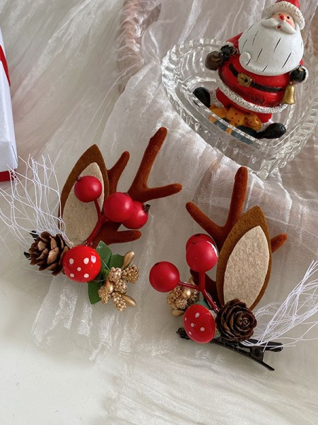 Christmas Cute Cloth With Antler Hairpins(2 Pieces)