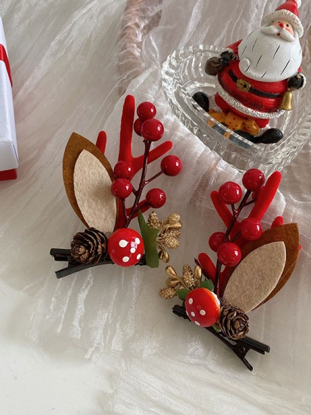 Christmas Classic Cloth With Antler Hairpins(2 Pieces)