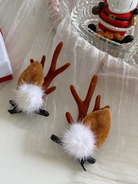 Christmas Exquisite Cloth With Antler Hairpins(2 Pieces)