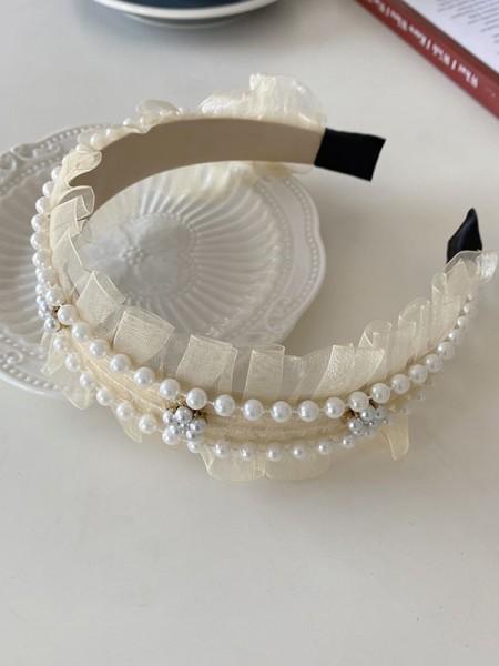 Elegant Tulle With Imitation Pearl Headbands