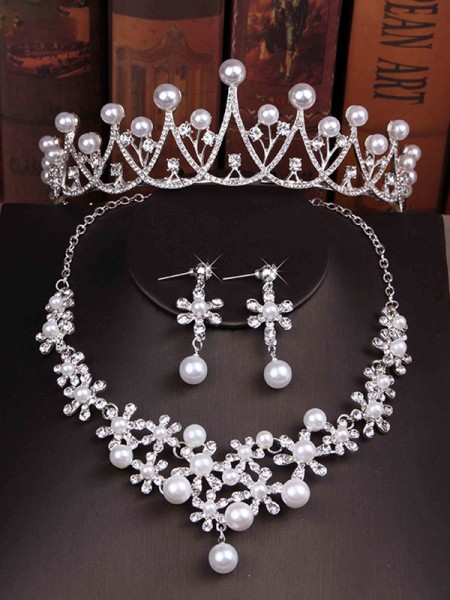 Glamorous Ladies'/Bridal Pearl With Rhinestone Jewelry Sets