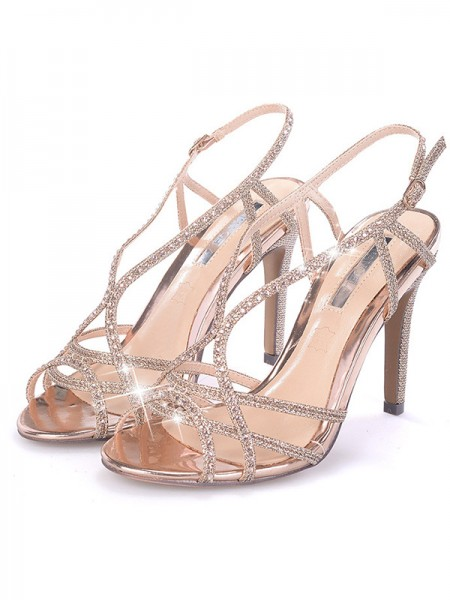 Women's Rhinestone Stiletto Heel Peep Toe Sandals