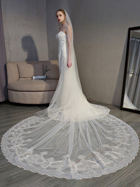 Brilliant Tulle With Lace Long Wedding Veils
