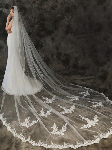 Beautiful Tulle One-Tier Cathedral Bridal Veils With Applique
