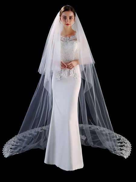 Attractive Tulle With Applique Long Wedding Veils