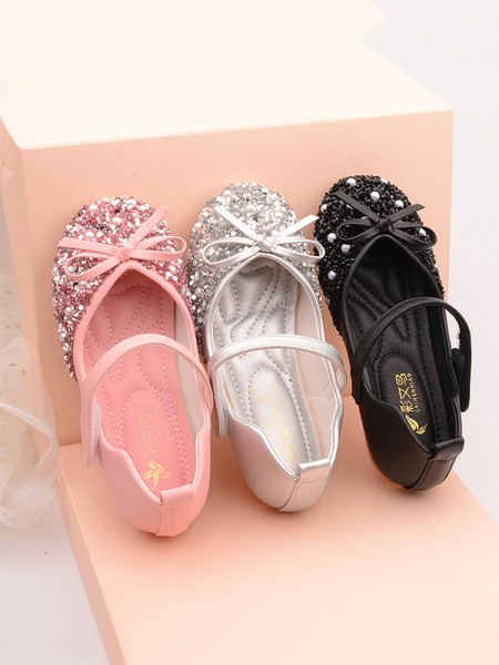 Girl's Leather With Bowknot Closed Toe Low Heel Flower Girl Shoes