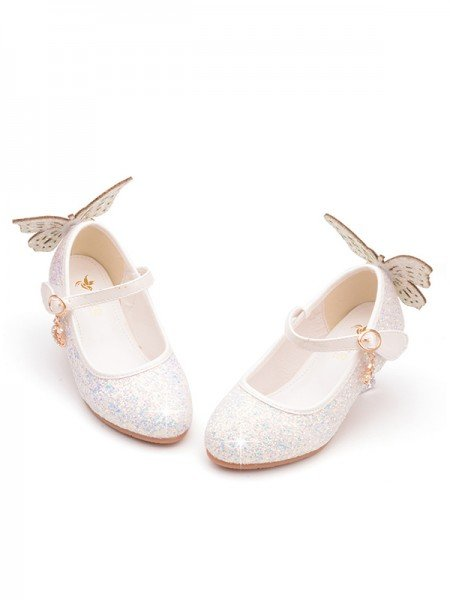 Girl's Leather With Sparkling Glitter Closed Toe Low Heel Flower Girl Shoes