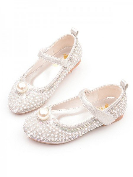 Girl's Leather With Pearl Closed Toe Low Heel Flower Girl Shoes