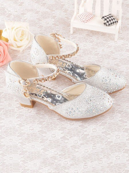 Girl's Leatherette With Rhinestone Closed Toe Low Heel Flower Girl Shoes