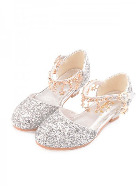 Girl's Leatherette With Sparkling Glitter Closed Toe Low Heel Flower Girl Shoes
