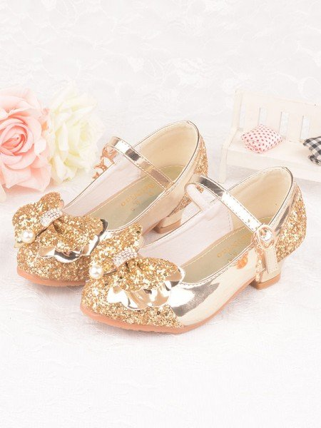 Girl's Leatherette With Bowknot Closed Toe Low Heel Flower Girl Shoes