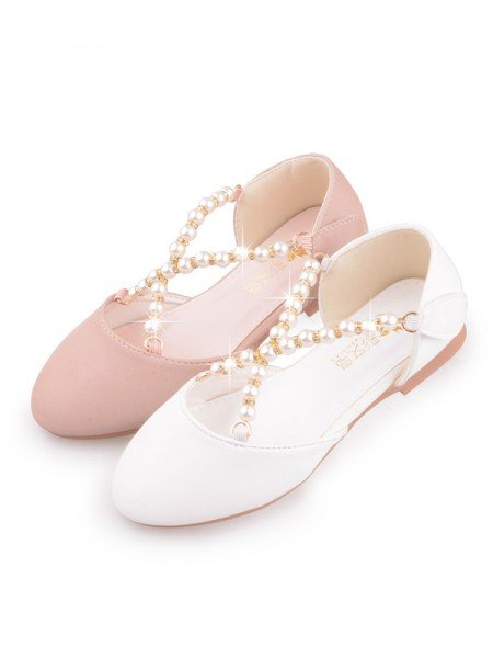 Girl's PU With Pearl Closed Toe Low Heel Flower Girl Shoes