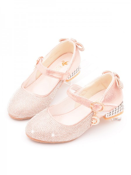 Girl's Leather With Rhinestone Closed Toe Low Heel Flower Girl Shoes