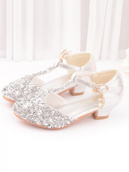 Girl's PU With Sequin Closed Toe Low Heel Flower Girl Shoes