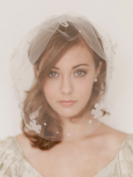 One-tier Birdcage Veils With Rhinestone