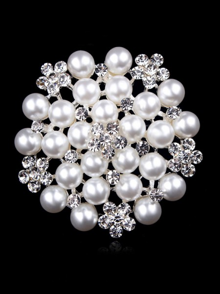 Attractive Alloy With Rhinestone/Imitation Pearl Ladies' Brooch