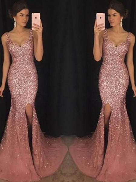 Sheath/Column Sweetheart Sleeveless Sweep/Brush Train Sequin Tulle Dresses