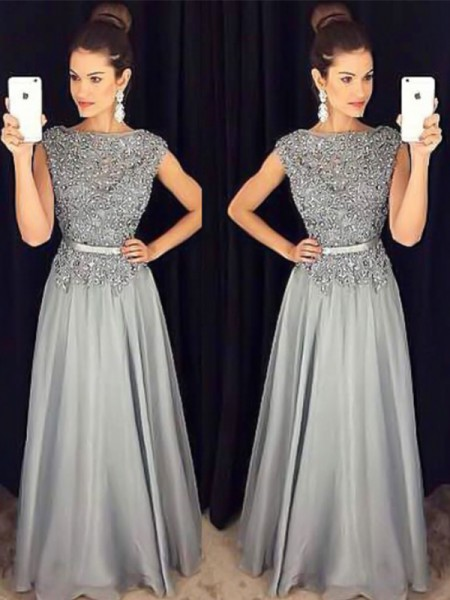 A-Line/Princess Bateau Sleeveless Floor-Length Applique Chiffon Dresses