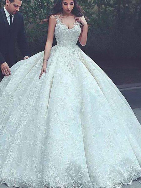 Ball Gown Spaghetti Straps Sleeveless Sweep/Brush Train Lace Tulle Wedding Dresses