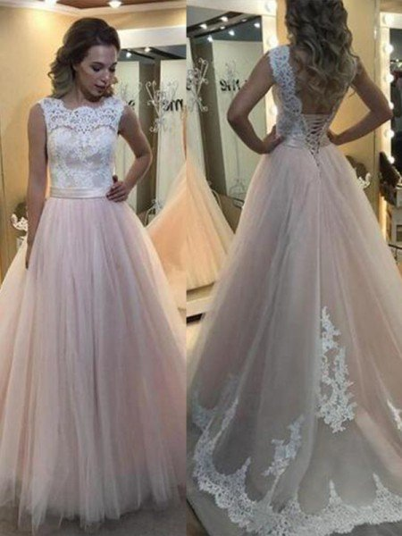 A-Line/Princess Bateau Sleeveless Sweep/Brush Train Lace Tulle Dresses
