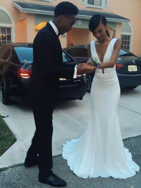 Sheath/Column V-neck Sleeveless Sweep/Brush Train Ruffles Satin Wedding Dresses