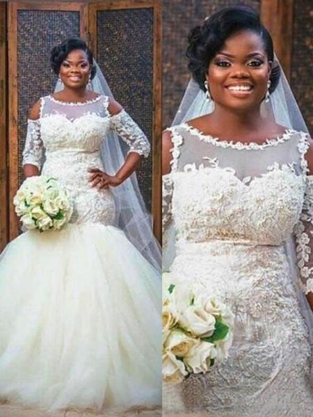 Trumpet/Mermaid Jewel 1/2 Sleeves Floor-Length Applique Tulle Wedding Dresses