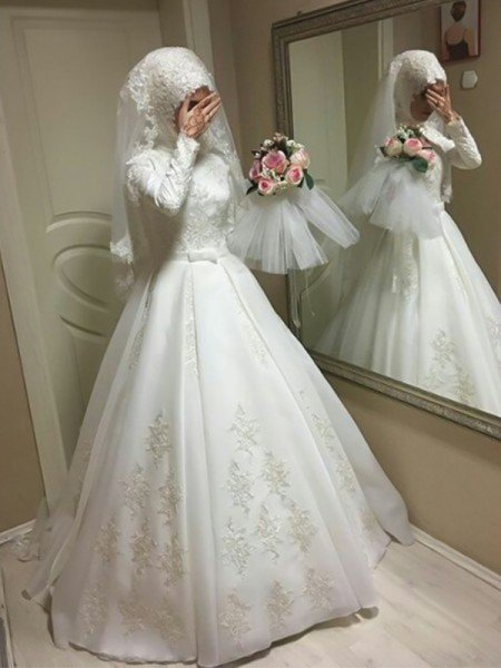 Ball Gown Jewel Long Sleeves Floor-Length Bowknot Organza Wedding Dresses