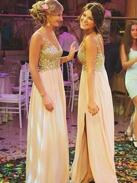 A-Line/Princess V-neck Sleeveless Floor-Length Sequin Chiffon Bridesmaid Dresses