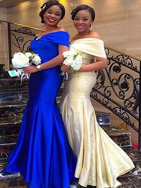 Trumpet/Mermaid Off-the-Shoulder Sleeveless Sweep/Brush Train Ruffles Satin Bridesmaid Dresses