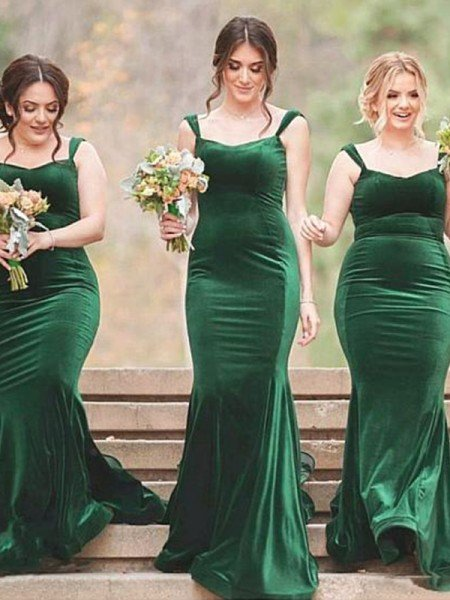 Sheath/Column Spaghetti Straps Sleeveless Sweep/Brush Train Ruffles Velvet Bridesmaid Dresses