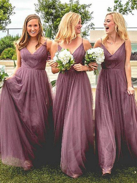 A-Line/Princess Spaghetti Straps Sleeveless Floor-Length Ruffles Tulle Bridesmaid Dresses