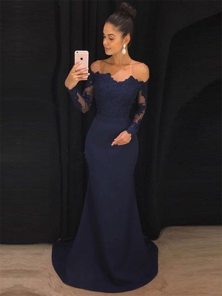 Trumpet/Mermaid Off-the-Shoulder Long Sleeves Sweep/Brush Train Lace Stretch Crepe Dresses